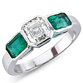 Asscher Cut Diamond with Rectangular Emeralds in Rub Set 3-stone Mount