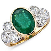 Oval Emerald and Diamond Rub Set Treffoil Ring
