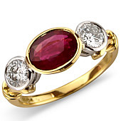 Oval Ruby and Diamond 'East/West' Rub Set 3-stone Ring