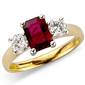 Rectangular Ruby and Diamond Claw Set 3-stone Ring