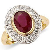 Oval Ruby and Diamond Pave Set Cluster Ring