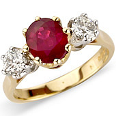 Oval Ruby and Diamond Claw Set 3-stone Ring