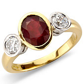 Oval Ruby and Diamond Rub Set 3-stone Ring