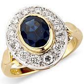 Oval Sapphire and Diamond Pave Set Cluster Ring