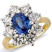 Oval Sapphire and Diamond Claw Set Cluster Ring