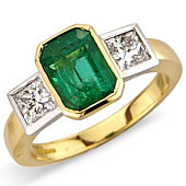 Rectangular Emerald and Princess Cut Rub Set 3-stone Ring