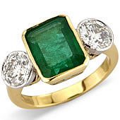 Rectangular Emerald and Diamond Rub Set 3-stone Ring