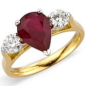 Pear Shaped Ruby and Diamond Claw Set 3-stone Ring