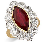 Marquise Ruby and Diamond Milgrain Cluster Ring