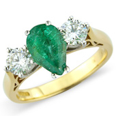 Pear Shaper Emerald and Diamond Claw Set 3-stone Ring