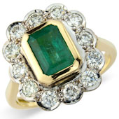 Rectangular Emerald and Diamond Milgrain Cluster Ring