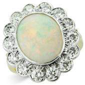 Oval Opal and Diamond Milgrain Cluster Ring