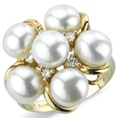 Fresh Water Pearl and Diamond Cluster ring