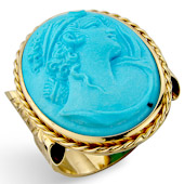 Turquoise Coloured Lava Stone Cameo Ring