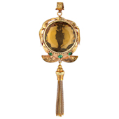 Yellow Gold, Round Citrine and Emerald Set Hand Engraved Tassle Pendant