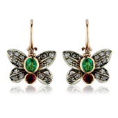 Ruby, Emerald and Diamond Butterfly Drop Earrings