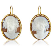 Large hand Carved Shell Cameo Drop Earrings
