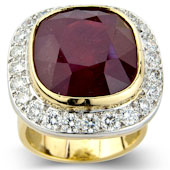 Cushion Shaped Ruby and Diamond Pave Set Cluster Ring