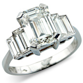 Emerald Cut Solitaire with Emerald Cut Diamond Shoulders