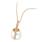 South Sea Pearl and Diamond Pendant Set on Rose Gold