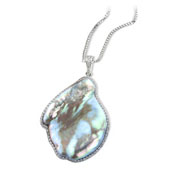 Natural Pearl Pendant with Diamond Border