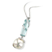 South Sea Pearl, Aquamarine and Diamond Set Pendant