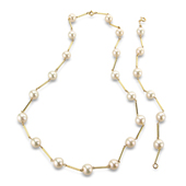 Fresh Water Pearl and White Gold Bar Set Necklace and Bracelet