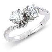 Brilliant Cut 2-stone Diamond Twist Ring