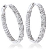 18ct White Gold and Diamond Set Hoop Earrings (2ct Diamond Weight)
