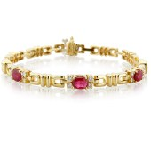 Ruby and Diamond Bracelet Set in Yellow Gold