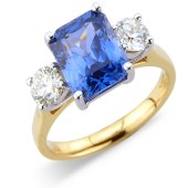 Rectangular Sapphire and Diamond Claw Set 3-stone Ring