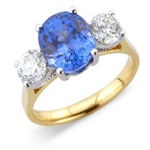 Oval Sapphire and Diamond Claw Set 3-stone Ring