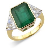 Rub Set Emerald and Trilliant Cut Diamond 3-stone Ring