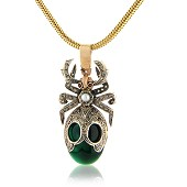 Emerald and Diamond Set Beetle Pendant with Ruby and Pearl Details