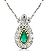 Large Emerald and Pave Set Diamond Pendant (Emerald 2.60ct / Diamond 3.70ct)