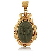 Antique Style Set Lava Stone Cameo Pendant