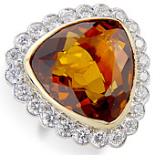 Citrine (24.5ct) and Diamond (2.40ct) Trilliant Shaped Milgrain Cluster Ring
