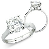 Brilliant Cut Solitaire Ring in 4-claw Mount