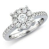Diamond Cluster Solitaire Style Ring with Diamond Shoulders.  (0.50ct)
