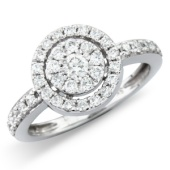 Diamond 'Halo' Cluster Ring with Diamond Set Shank.  (0.50ct)