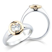 Brilliant Cut Solitaire in Rose and White Gold 'Rub' Set Mount
