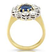 11-stone Oval Sapphire and Diamond Claw Set Cluster Ring