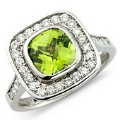 Cushion Shaped Peridot and Diamond Cluster Ring with Diamond Set Shoulders