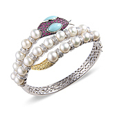 Snake Bangle Set with Pearls, Rubies, Turquoise and Diamonds