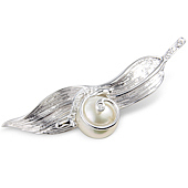 Cultured Pearl and Diamond 'Snail on a Leaf' Brooch