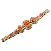 Chunky Antique Style Carved Coral Triple Cameo Bracelet