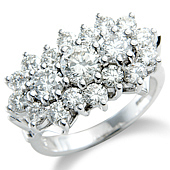 East/West 3-stone Cluster Ring
