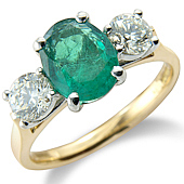 Oval Emerald and Diamond Claw Set 3-stone Ring