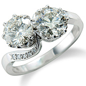 Brilliant Cut Diamond 2-stone Twist with Pave Set Shoulders (2.35ct)