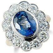 Oval Sapphire and Diamond Milgrain Cluster Ring